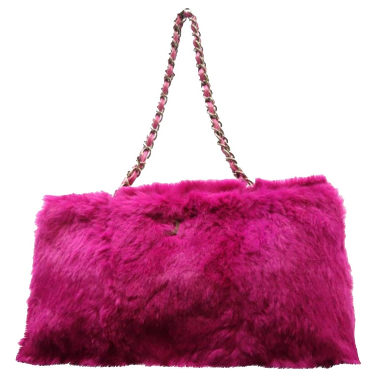 581c62ae974a Chanel Fuchsia Chain Tote 228729 Pink Rabbit Fur Shoulder Bag For Sale