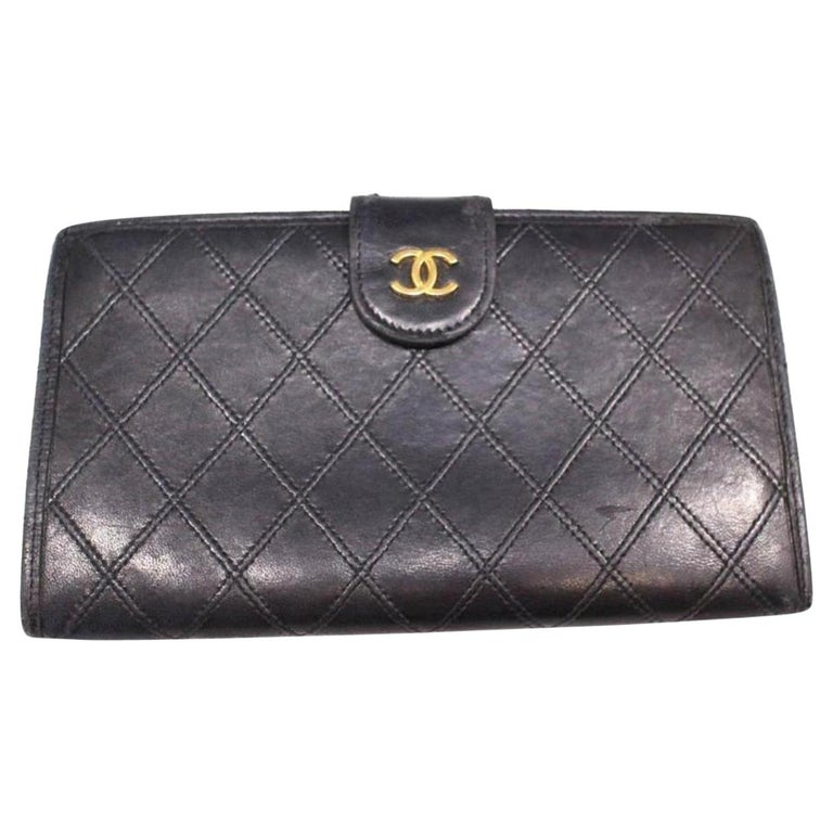 fb995b075467 Chanel Quilted Lambskin Bifold Long Flap Wallet 230169 Black Leather Clutch  For Sale