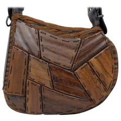bb01c88d58cb Fendi Wooden Patchwork Kidney Bean Hobo 230998 Brown Wool Shoulder Bag