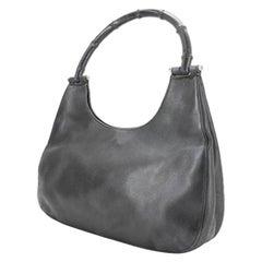 Gucci Gg Hobo-223599 Black Leather Shoulder Bag