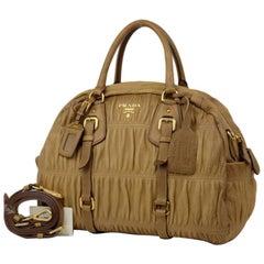 Prada Bl0394 2way Bowler 220087 Brown Leather Shoulder Bag