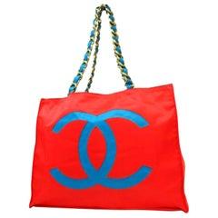 Chanel Xl Logo Chain 223670 Red X Blue Nylon Tote