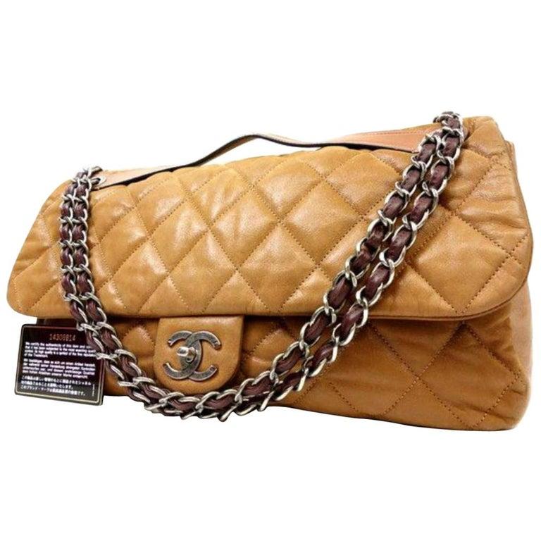7ec10cb5fd17 Chanel Classic Flap Xl Special 223640 Light Brown Leather Shoulder Bag For  Sale