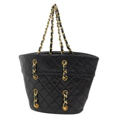 Chanel Quilted Chain Through 220163 Black Leather Tote