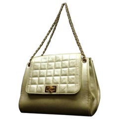 Chanel Quilted Metallic Accordion Flap 224475 Gold Leather Satchel
