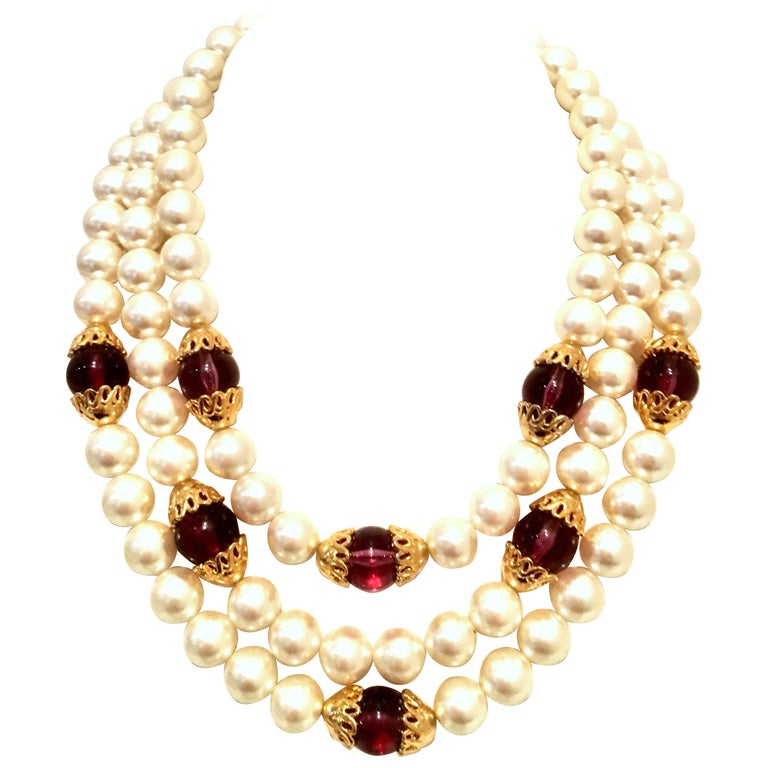 210d35055f275 90'S Gold & Faux Pearl, Glass Bead Triple Strand Necklace By, Napier