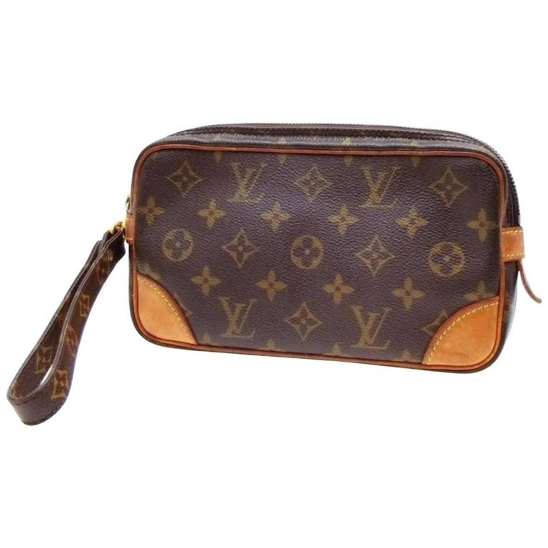 860ae6786668 Louis Vuitton Marly Dragonne Marly Pochette Monogram Pm 232726 Brown Clutch  For Sale