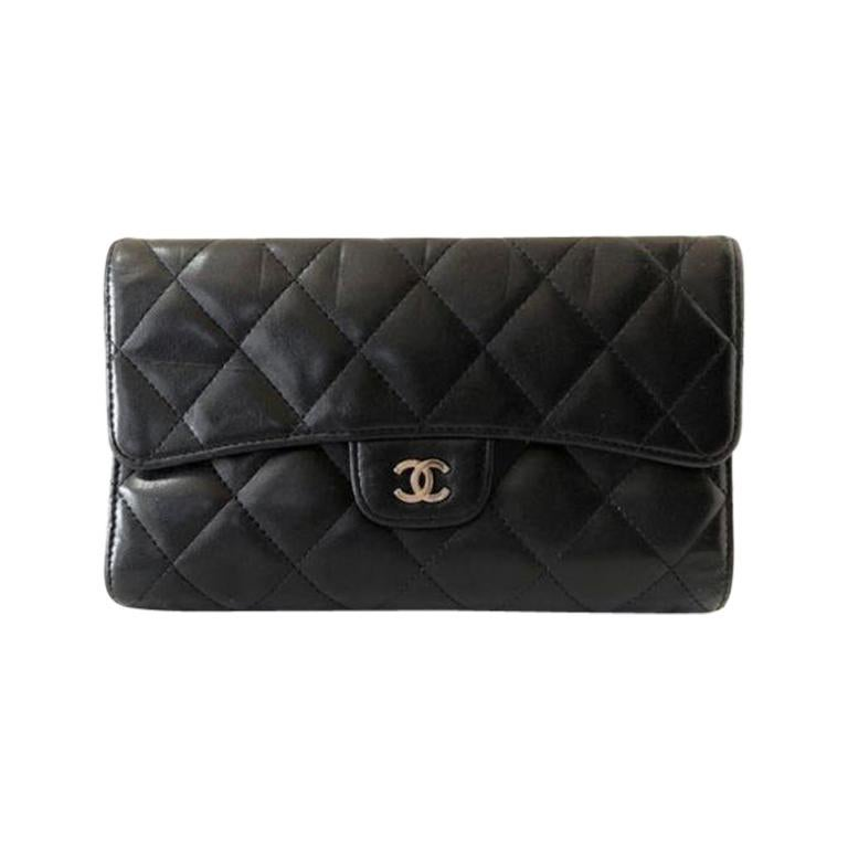 d80b6dbbe1a1 Chanel Black Quilted Lambskin Classic L Flap 232058 Wallet at 1stdibs