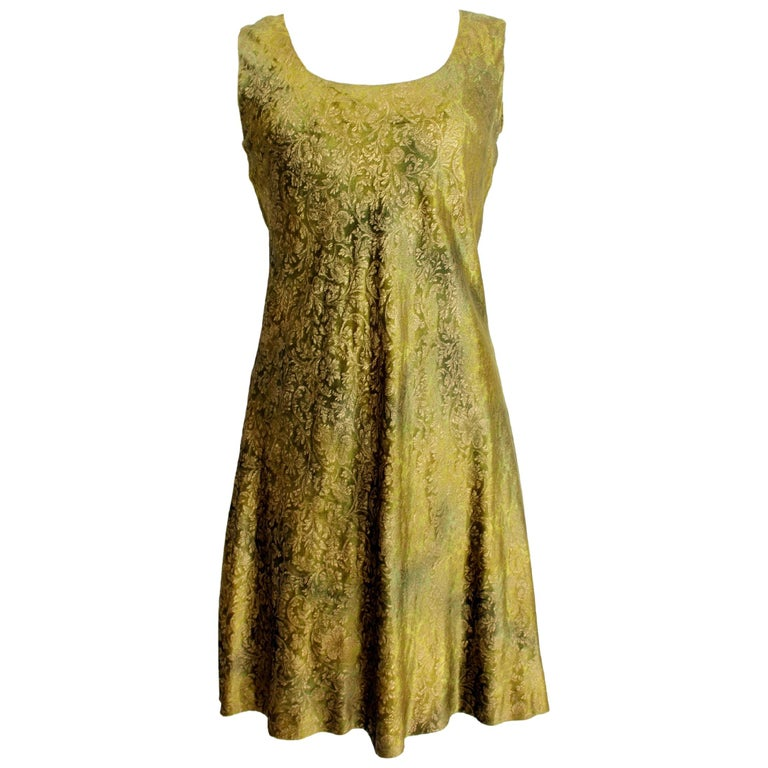 2000s Alberta Ferretti Green Gold Damask Floral Sz 8 A Line Dress For Sale