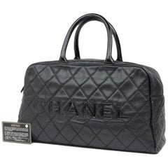 Chanel Quilted Caviar Boston 224146 Black Leather Satchel