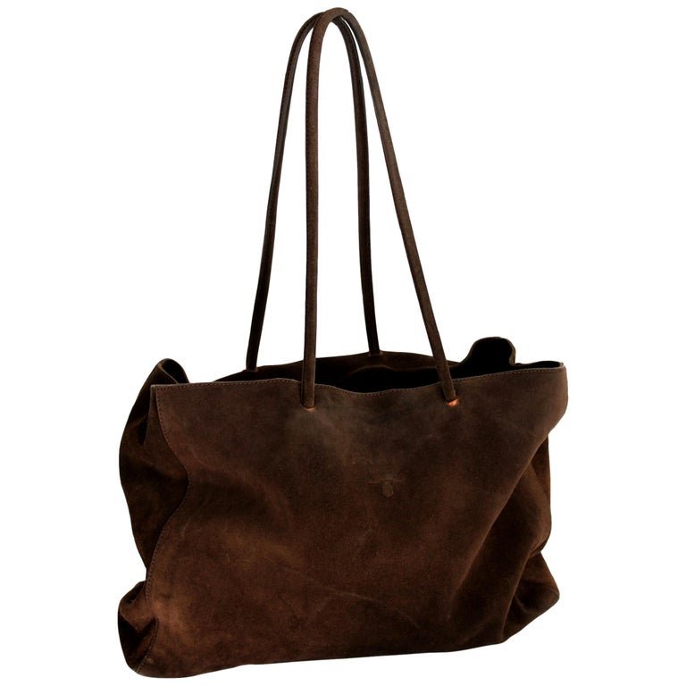 2000s Prada Brown Leather Suede Vintage Handbag Shopper  For Sale