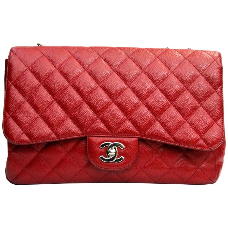 99f74748e16f Chanel Red Caviar Leather Jumbo Flap Bag For Sale at 1stdibs