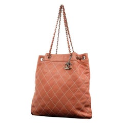 Chanel Surpique Wild Stitch Charm Tote 219721 Coral Salmon Quilted Leather Shoul