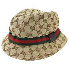Gucci Beige Sherry Monogram Web Bucket 232838 Hat