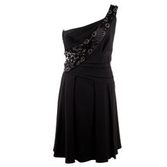 Christian Dior Black One Shoulder Dress with Rhinestones Size 6