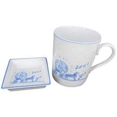 Hermès White Rare Limited Mug and Tray Set 232649
