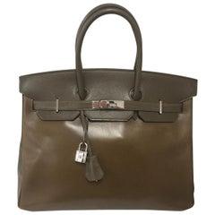 Hermès Olive Zweifarbige 35cm Birkin Tasche