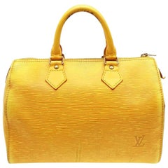 Louis Vuitton Speedy 25 231387 Yellow Leather Satchel