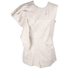 Lanvin Stone Linen and Cotton Sleeveless Top with Ruffle Trim Size 38