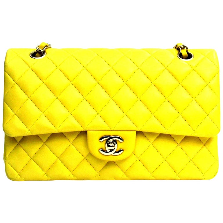 Chanel Yellow Lambskin Leather 2 55 Double Flap Bag