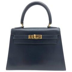 Hermes vintage Kelly 20cm Blue in Box leather