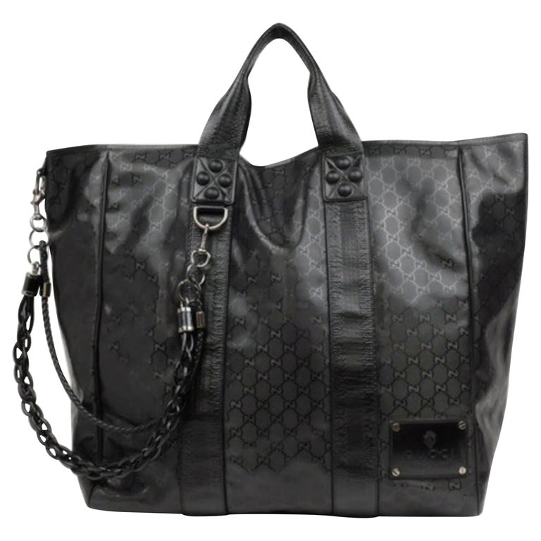 e90f5c86e380cc Gucci Extra Large Imprime Chain 226159 Black Coated Canvas Tote For Sale