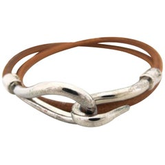 Hermès Brown X Silver Double Wrap Jumbo Hook 218315 Bracelet