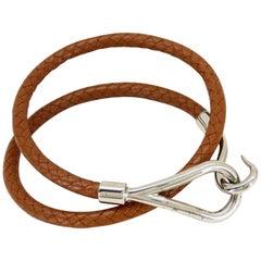 Hermès Brown X Silver Double Wrap Jumbo Hook 226026 Bracelet