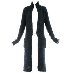 Yohji Yamamoto navy blue chunky knit cardigan with large safety pin, c. 1990s