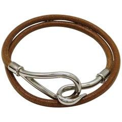 Hermès Brown X Silver Jumbo Hook 225790 Bracelet