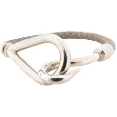 Hermès Brown X Silver Jumbo Hook 225792 Bracelet