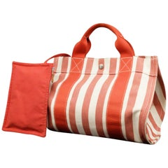 Hermès Pm Set with Pouch 225550 Striped Canvas Tote