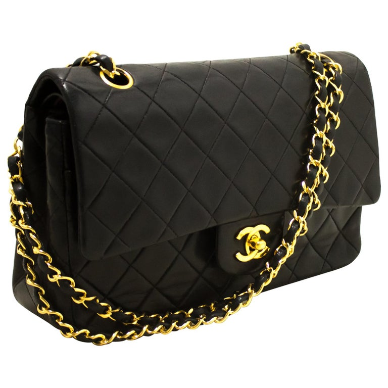 5e0ec955883a CHANEL 2.55 Double Chain Flap Shoulder Bag Black Quilted Lambskin For Sale