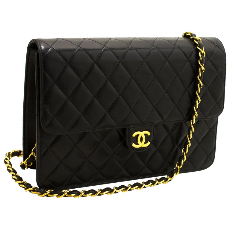071c3c2b2667 CHANEL Chain Shoulder Bag Black Clutch Flap Quilted Lambskin at 1stdibs
