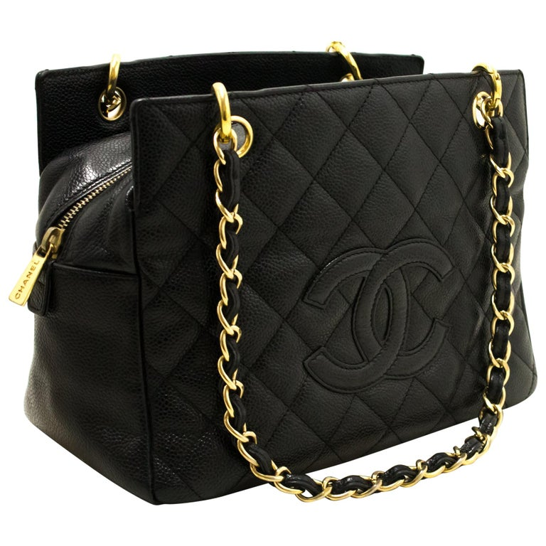 46fcb774b625 CHANEL Caviar Chain Shoulder Shopping Tote Bag Black Quilted at 1stdibs