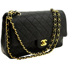 """CHANEL 2.55 Double Flap 10"""" Chain Shoulder Bag Black Quilted"""
