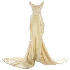 Vivienne Westwood cream silk corset and draped skirt wedding ensemble, c. 1999