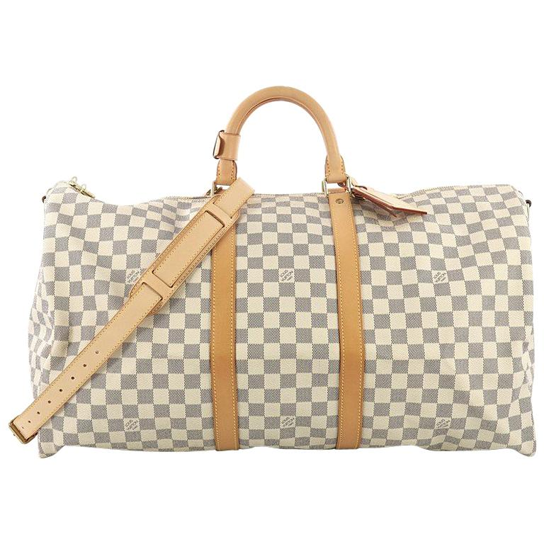 Louis Vuitton Keepall Bandouliere Bag Damier Graphite 55 For Sale