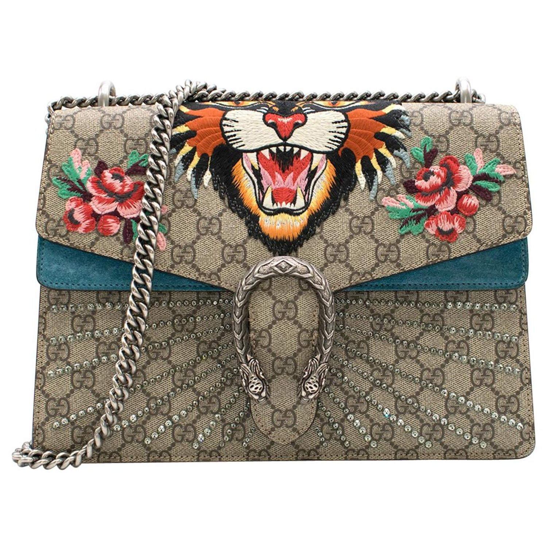 14812355e3ba Gucci Dionysus supreme medium tiger head embroidered shoulder bag For Sale  at 1stdibs