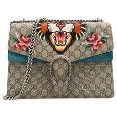 Gucci Dionysus supreme medium tiger head embroidered shoulder bag