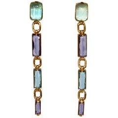 Goossens Paris Tinted Rock Crystal Duster Clip Earrings