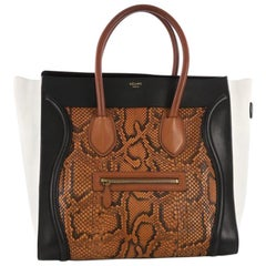 Celine Tricolor Luggage Handbag Python and Leather Medium
