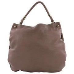 Gucci Braided Handle Shoulder Bag Leather Large