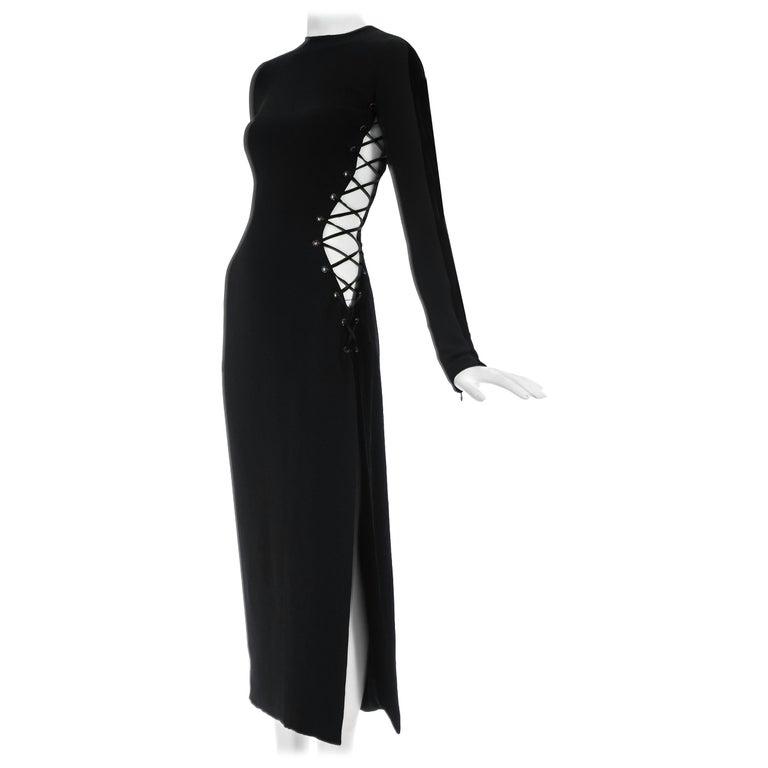 7fd83ce3fea Gianni Versace black silk and velvet lace up evening dress