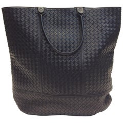 Bottega Large Black Leather Woven Tote