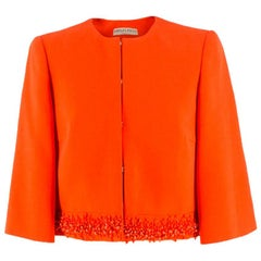 Emilio Pucci embellished-hem wool-blend jacket US 6