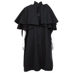 Yves Saint Laurent Black Wool Cape Coat