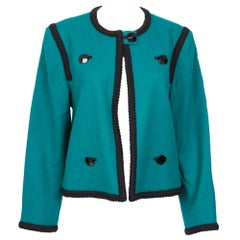 1980s Yves Saint Laurent Emerald Green Iconic Jacket