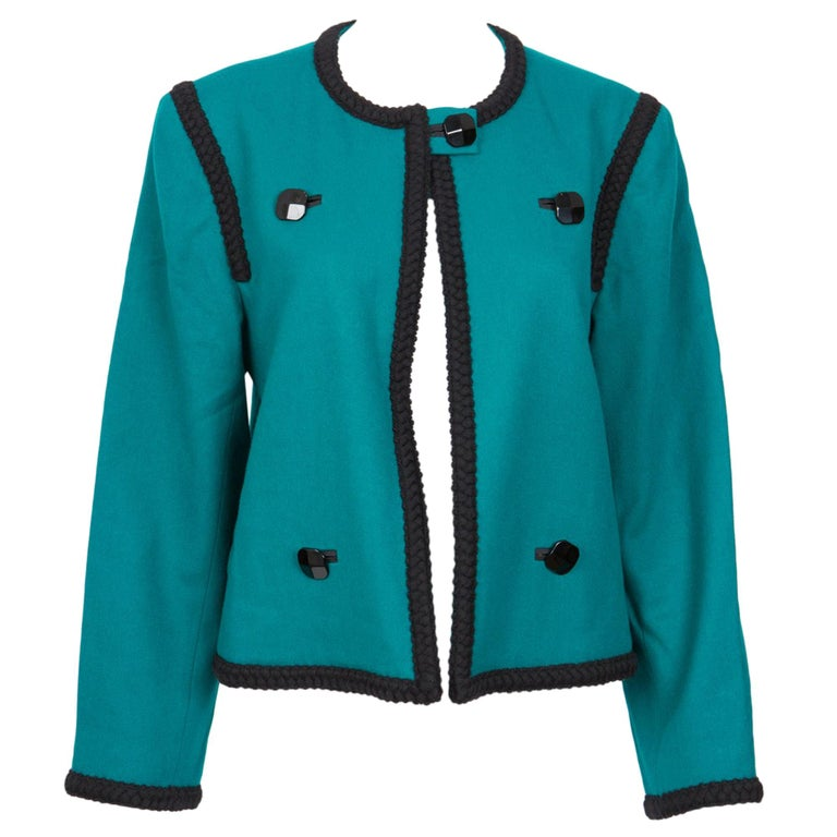 1980s Yves Saint Laurent Emerald Green Iconic Jacket For Sale