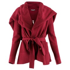 Alexander McQueen Burgundy Wool Cape Cardigan US 8